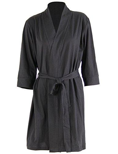 Godsen Women's Plus Size Comfort Cotton Sleepwear Bathrobe (M, Black)