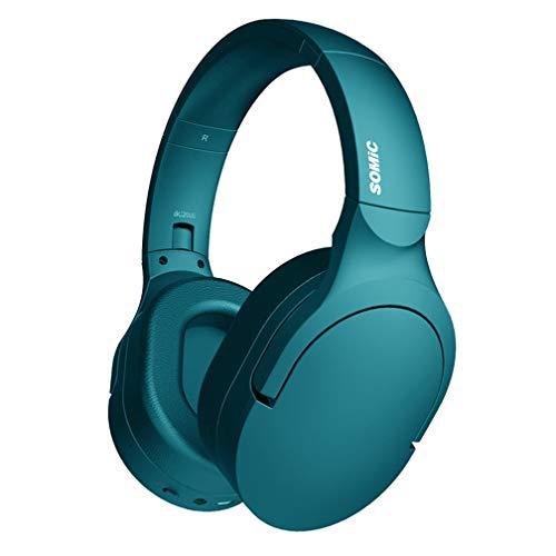 SJYT Gaming Headset - Hallo-Res-Lautsprecher-Treiber, Noise-Cancelling drahtlose Kopfhörer mit Mikrofon, 24 Stunden Akkulaufzeit, Quick Charge, Gestensteuerung, ambient-Sound,Blau