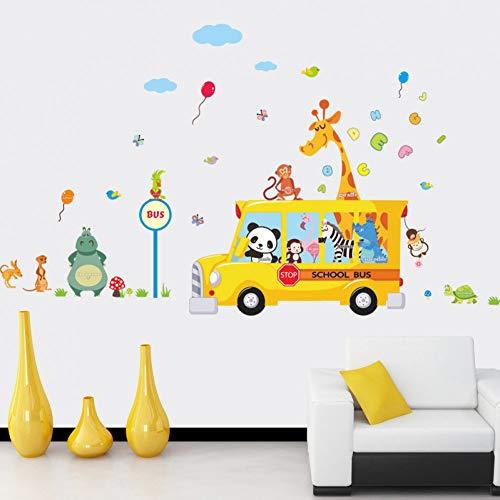 Panda Giraffe Aap Dier Vlinder School Bus auto Thuis Sticker Muursticker Kids Kamer Kind Baby Kleuterschool Grappige Verjaardag