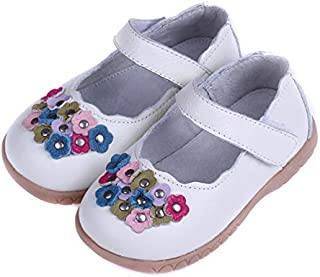 SandQ baby Girls White Leather Mary Jane Shoe with Flowers