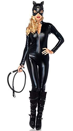 KIRALOVE Disfraz de Catwoman - Gato - Gato Negro - Mujer niña - Sexy - Disfraces de Mujer - Halloween - Carnaval - Cosplay - Accesorios - Color Negro - Talla XXL - Idea de Regalo Original Cosplay