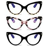 DXYXYO 3 Pack Reading Glasses Cat Eye Blue Light Blocking Women 2.5 Vintage Oversized Fashion Anti Blue Readers Retro Cute Eyestrain Computer Eyeglasses
