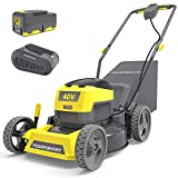 PowerSmart Cordless Lawn Mower, 40V Push Lawn Mower 17 Inch, Electric Lawn Mower with Grass Bag, 3-in-1 Mower, 5 Adjustable Heights(1.18-3.0'') Battery & Charger Included