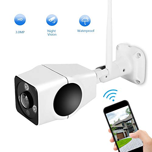 3MP WiFi IP-camera, draadloze outdoor en indoor bewakingscamera kogelcamera met 10 m nachtzicht, bewegingsdetectie, 360 ° fisheye, tweeweg-audio, ondersteunt 128 G opslag