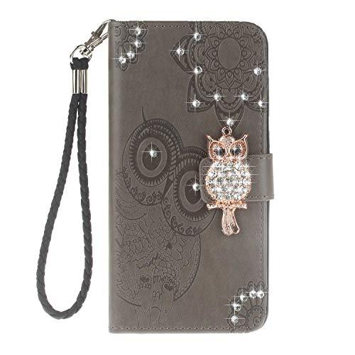 NBKASE Coque Sony Xperia XZ2 Compact, Premium Diamond Owl PU Cuir Flip Portefeuille Étui Housse pour Sony Xperia XZ2 Compact, avec Fentes de la Carte, Gris