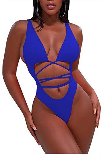 Sovoyontee Women's Sexy One Piece Swimsuits Bikini Bathing Suit Sapphire Blue L