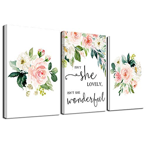 SLLART Floral Wall Art Canvas Poster Quotes Posters and Prints Watercolor Flower Picture Nursery Painting Pink Print Girl Room Decor 3P/Set (40x60cm) Frameless