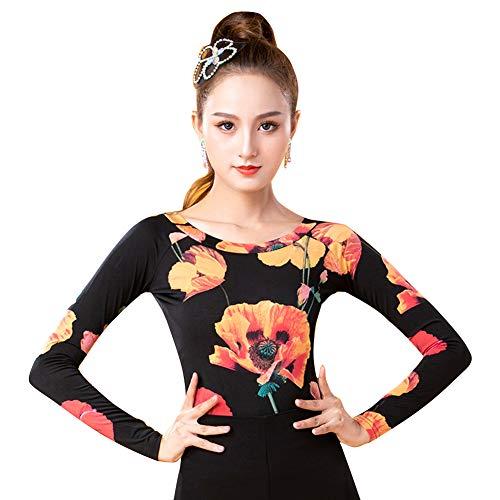 LNIGHT 社交ダンス トップス 花柄 長袖 フラダンス tシャツ レディース ラテンダンス 練習着 ダンスウェア ブラウス(花柄,XL)
