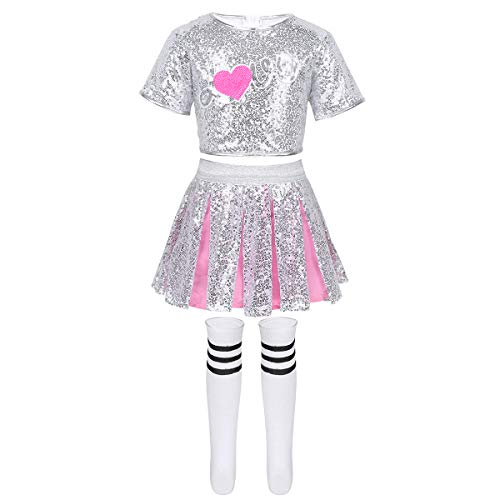 dPois Mädchen Glitzernde Cheerleading Uniform Outfits Set Kurzarm Top mit Minirock Strümpfe Tanzbekleidung für Performance Auftritt Sliber&Rosa 128-140/8-10 Jahre