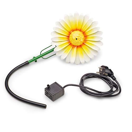 AQUANIQUE Speier Set Gänseblümchen weiß SSDW 200i, Wasserspiel, Wasserspeier aus Metall mit Pumpe, 200 l/h, 1,5m Kabel, Gartendekoration