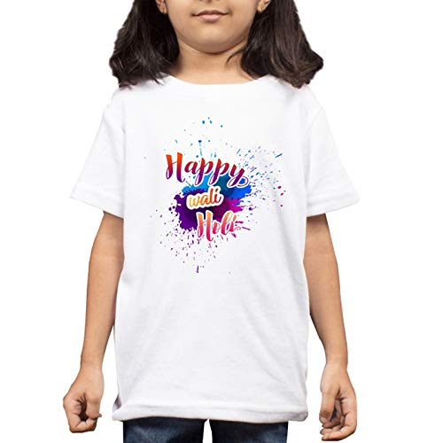 LIMIT - Happy Wali Holi Printed Kids T-Shirt Regular Fit Stylish Printed Poly Cotton Tshirt for Boys & Girls Kids Casual Wearr(9-10 Years) White