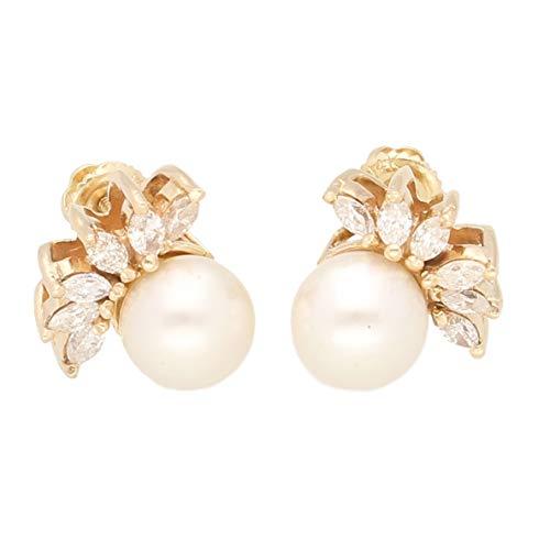 Jollys Jewellers - Pendientes de tuerca para mujer, oro amarillo de 14 quilates y diamante marquesa de 1,00 quilates, el regalo perfecto para una mujer especial