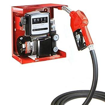 STKUSA Stark 110V Electric Diesel Oil Fuel Transfer Pump w/Meter + Discharge Hose & Nozzle Set Red  21110