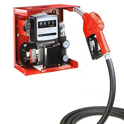 Stark 110V Electric Diesel Oil Fuel Transfer Pump w/Meter + Discharge Hose & Nozzle Set, Red