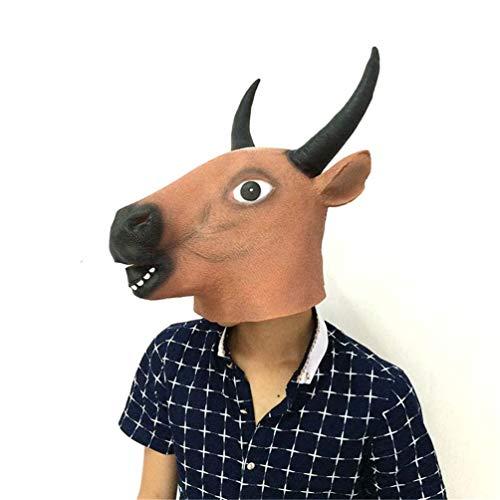 LBMJ Máscara de Halloween Cabeza de Toro Máscara Cabeza de Toro Cara de Caballo Longhorn Buffalo Cabeza de Toro Cubierta de látex Máscara de Animales respetuosa con el Medio Ambiente