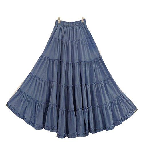 CoutureBridal® Damen Sommer Rock Frühjahr Maxirock Langrock Bohemia Baumwolle (Jeans Blau)