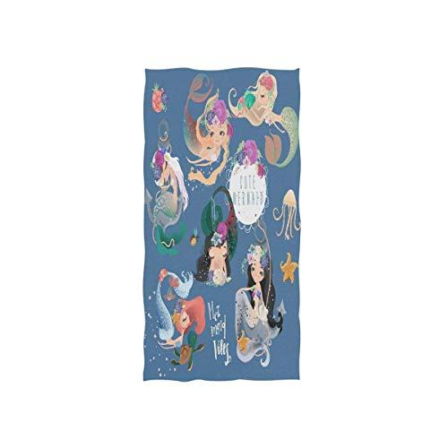 SZBNIZAINAOI Toallas de mano de Sirenita, suaves, muy absorbentes, grandes, de 15.7 x 27.5 pulgadas, toallas de baño multiprupose para la cara, baño, gimnasio, hotel, spa