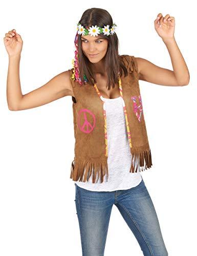 Vegaoo - Hippie Weste für Damen braun 55 cm - Einheitsgröße