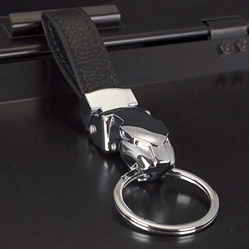 MINTUAN Herren Leder Schlüsselbund Geschenke Jaguar Auto Schlüsselanhänger Edelstahl Schlüsselring Metall Schlüsselanhänger Herren Schmuck
