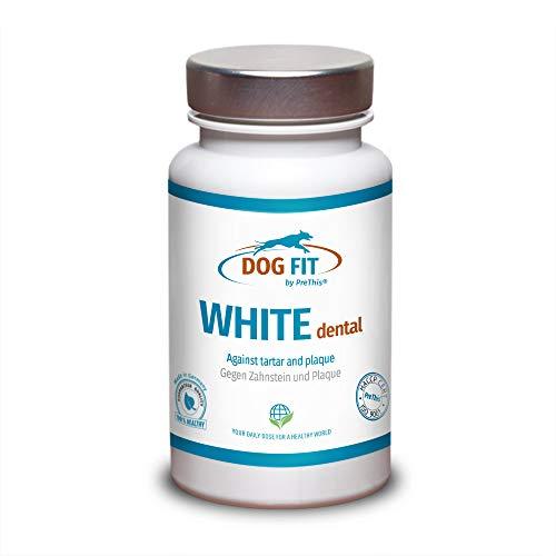 DOG FIT by PreThis® White dental | Zahnsteinentferner Hund | Gegen Zahnstein & Zahnbelag, natürliches Zahnsteinpulver zur Zahnpflege & Zahnreinigung | Hunde Palque vorbeugen & Zähne reinigen