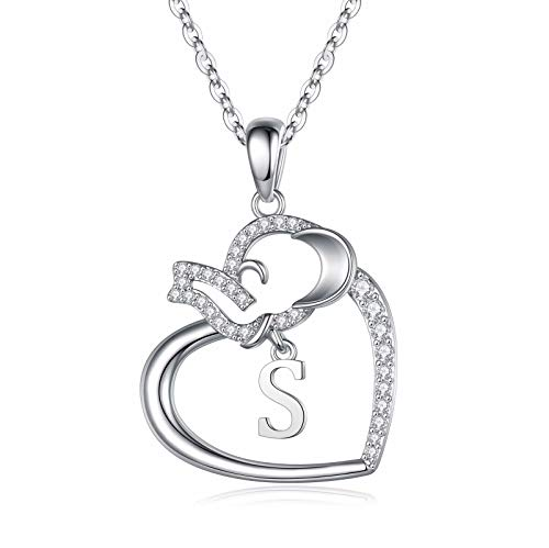 IEFSHINY Elephant Gifts Elephant Necklaces for Women, S Good Luck Elephant Love Heart Pendant Necklace Lucky Elephant Jewelry for Women Girls Friends