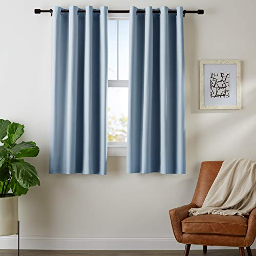 "AmazonBasics Room-Darkening Blackout Curtain Set with Grommets - 42"" x 63"", Smoke Blue"