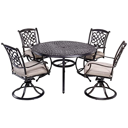 sunjoy patio furniture sets dali 5 Piece Outdoor Dining Set Patio Furniture, Deep Cushioned Aluminum Swivel Rocker Chair Set with 48 inch Round Alum Casting Table