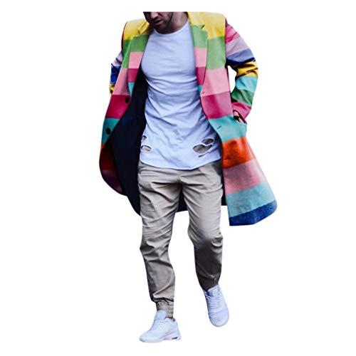 KPILP Herren Mantel Wintermantel Mode Regenbogen Streifen Lang Mantel Überzieher Schlank Trenchcoat Jacke Übergangsjacke Coat Reverskragen Outdoor