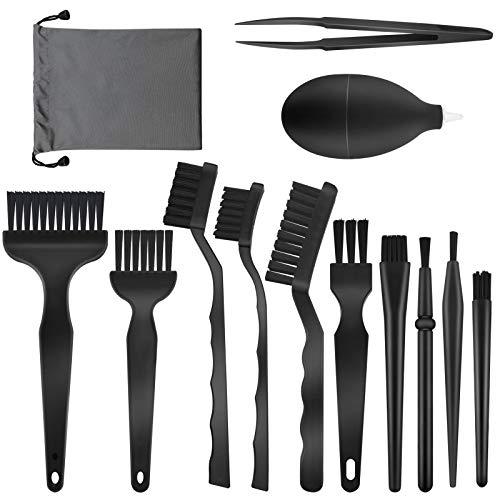 Juego de 13 cepillos antiestáticos para teclado, cepillos de PC, kit de herramientas de limpieza con pinzas, soplador de aire y bolsa de almacenamiento para PC, teléfono, tableta, PCB, cámaras BGA