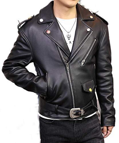 Preisvergleich Produktbild Susichou Leder-Revers Slim Fit Handsome Motorradjacke Schafleder Kurze Lederjacke Gr. Medium