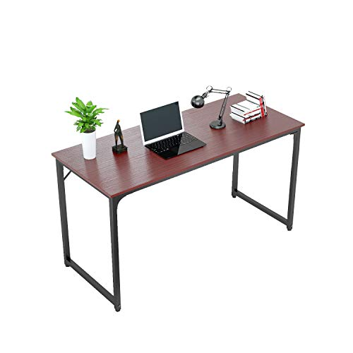 """Tycholite Computer Desk 47"""" Modern Sturdy Office Desk 47 Inch PC Laptop Notebook Study Writing Table for Home Office Workstation, Teak"""