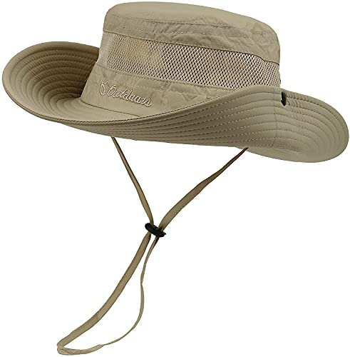 Century Star Sun Hats for Men Wide Brim Hat Women Beach Fishing Outdoor Summer Safari Bonnie Hat UPF 50+ Sun Protenction Dark khaki One Size