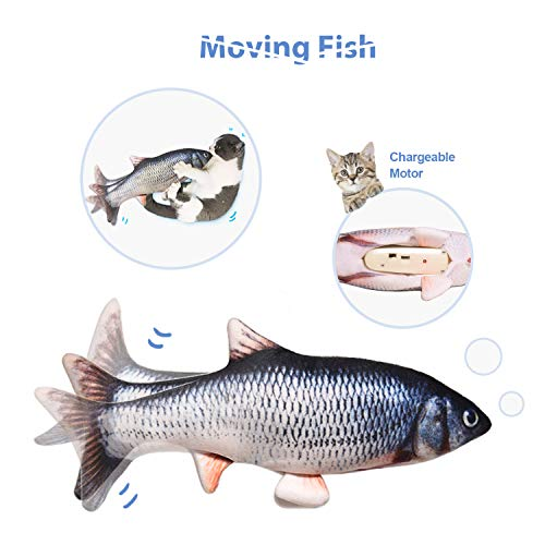 "Leven 10"" Electric Flopping Cat Kicker Fish Toy Realistic Moving Fish Wiggle Fish Catnip Toys Motion Kitten Toy Plush Interactive Cat Toys Fun Toy for Cat Exercise CatFishToyKittyInteractive"