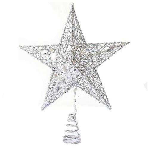 SODIAL(R) Ornamento del arbol de Navidad arbol de Navidad Decorativo Cap Top arbol Decorativo Festival del arbol(20CM Estrella de Cinco Puntas de Plata)