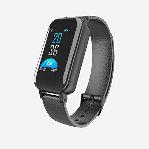 QIXIAOCYB T89 Bracelet connecté avec écran tactile en couleur et moniteur de fréquence cardiaque, de pression artérielle, casque Bluetooth pour homme et femme pour iOS et Android, C,
