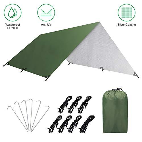 PUREBOX 3m x 3m Tent Tarp Regen Vlieg Hangmat Camping Shelter Tarpaulin, Draagbaar Lichtgewicht Waterdicht Winddicht Snowproof Anti-UV Sneeuw Zonnescherm voor Camping Outdoor Reizen, Donkergroen