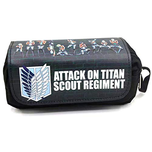 Heyu-Lotus Anime Tokyo Ghoul Pencil Case Pencil Holder Makeup Bag Stationery Pouch Pen Bag(Attack on Titan)
