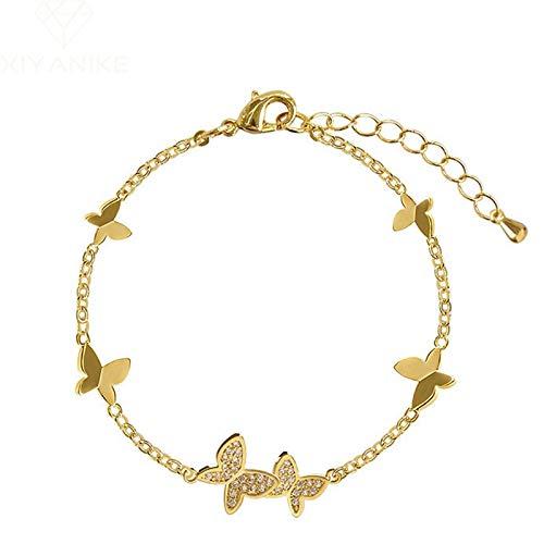 Pulsera de plata de ley 925 para evitar la alergia, pulsera de boda para mujeres, parejas, diseño clásico de mariposa de cristal, joyería de mano, regalos