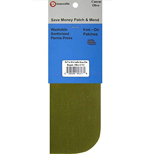 2 Pieces Iron-On Canvas Repair Patches 5 x 5 Inch, Olive Compare to Bondex