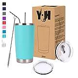 Y·J&H 20oz (550ml) Doppelwandig Vakuum Isolierter Autobecher, Edelstahl Reiseflasche, Thermobecher Kaffee to Go mit 2 Spritzfestem Deckel 2 Strohhalm, Rohrbürste,BPA Free - Türkis