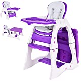 Costzon Baby High Chair, 3 in 1 Infant Table and Chair Set, Convertible Booster Seat with 3-Position Adjustable Feeding Tray, Adjustable Seat Back, 5-Point Harness (Purple)