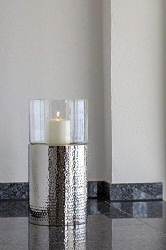 Windlichter Boden Klein, Gesamt-H: 49,0cm, Metall-H: 31,0cm, D 24,0cm Edelstahl