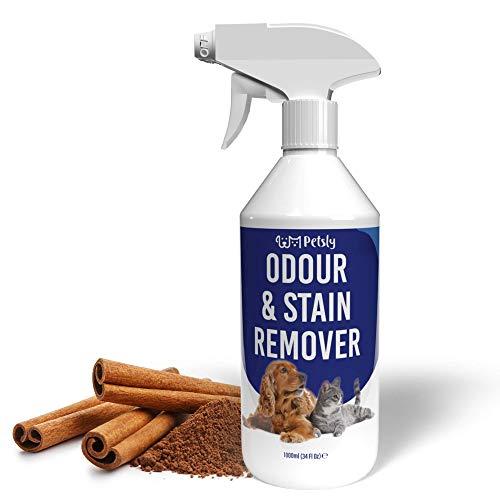 PETSLY Geruchsneutralisierer für Hunde & Katzen Flecken, Enzymreiniger Katzenurin Geruchsentferner gegen unangenehme Gerüche, Geruchsentferner Katze, Enzymreiniger Hundeurin, Geruchsentferner Hund 1L