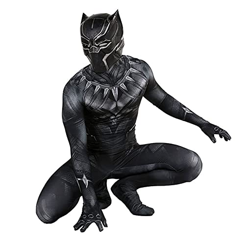 Black Panther Papel Playing Disfraz Halloween Cosplay Medias Muestre El Rendimiento De La Etapa Onesies Lycra Spandex Siamese Ropa con Casco,Bodysuit-Kids M(125~135cm)