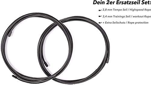 SPOONIE Sport - Springseil Ersatzteilset: 2X Extra Stahlseile (300cm) mi PVC Ummantelung, Seilprotektor, Extra Schrauben und Kappen + Gratis E-Book   Replacement Rope and Parts  