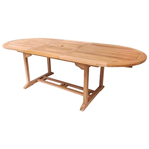 Charles Bentley Solid Wooden Teak Garden Patio Oval 6-8 Seater Extendable Table
