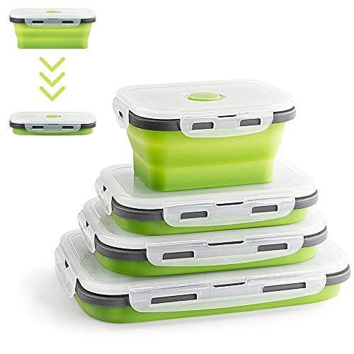 Virklyee® 4 Pcs Recipientes de Silicona Plegable Fiambrera de Silicona Plegable de Silicona Recipientes para Alimentos Contenedores de Almacenaje de Silicona Plegable Ahorro de Espacio(Verde)