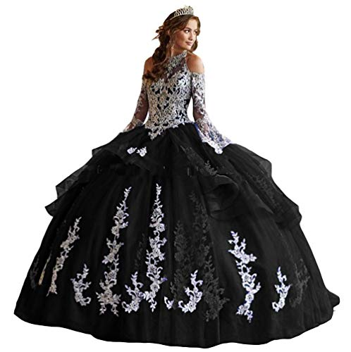 Ai Maria Women's Off Shoulder Quinceanera Dresses Lace Appliques Long Sleeve Prom Ball Gown