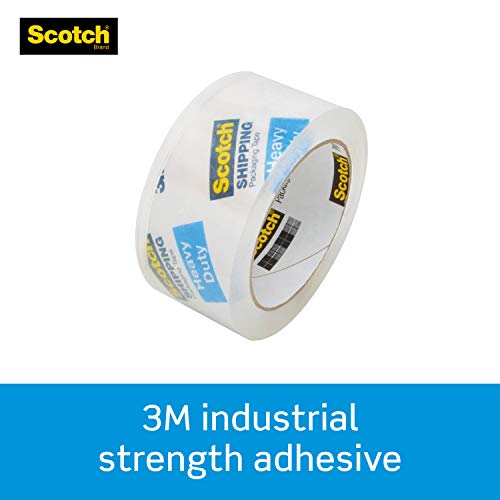"""Scotch Heavy Duty Packaging Tape, 1.88"""" x 22.2 yd, Designed for Packing, Shipping and Mailing, Strong Seal on All Box Types, 1.5"""" Core, Clear, 1 Roll with Pink Dispenser (142-PC)"""