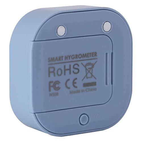 COHU Termohigrómetro, Interruptor electrónico ABS Digital en Tiempo Real en Varios Idiomas -20 ℃ a 65 Meter Medidor de Temperatura y Humedad, para Garaje en casa(Blue)